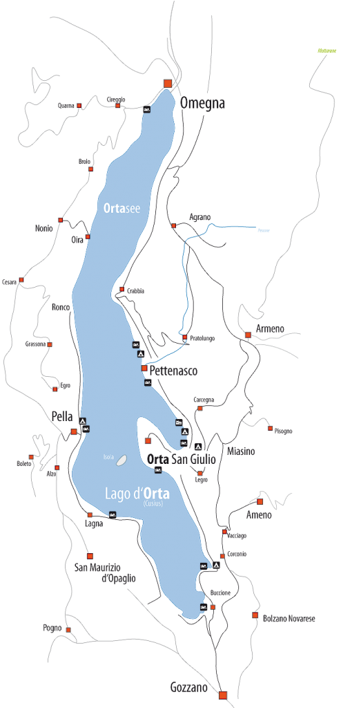 Bild zeigt eine Karte vom Ortasee.